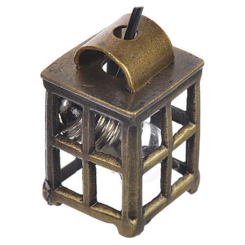 Lampione metallo presepe cm 2,1x2,1x3,4 con luce 3,5v 1
