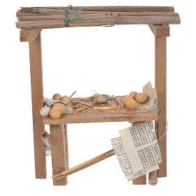 Banco legno uova cera presepe 9x10x4,5 cm s1