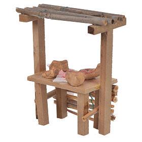 Banco legno salumi cera presepe 9x10x4,5 cm s2