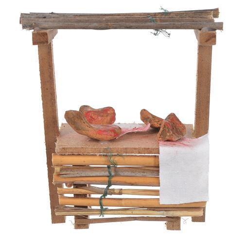 Banco legno salumi cera presepe 9x10x4,5 cm 1