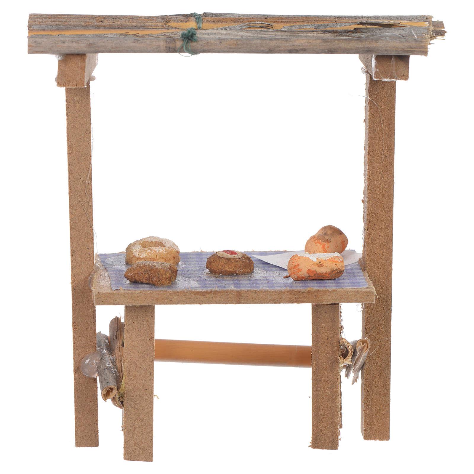 Banco legno dolci cera presepe 9x10x4,5 cm 4