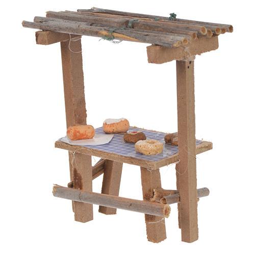 Banco legno dolci cera presepe 9x10x4,5 cm 2