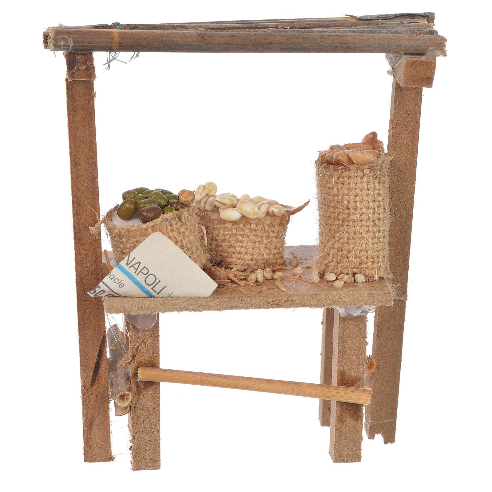 Banco legno cereali olive cera presepe 9x10x4,5 cm 4