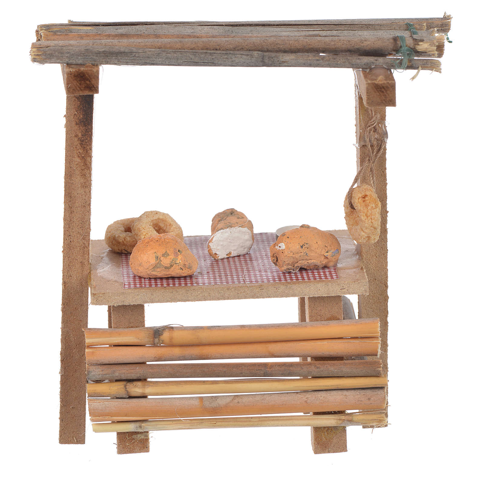 Banco legno pane cera presepe 9x10x4,5 cm 4