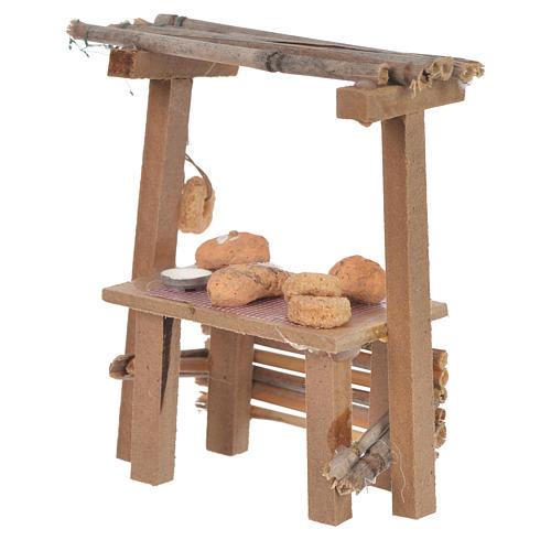 Banco legno pane cera presepe 9x10x4,5 cm 2