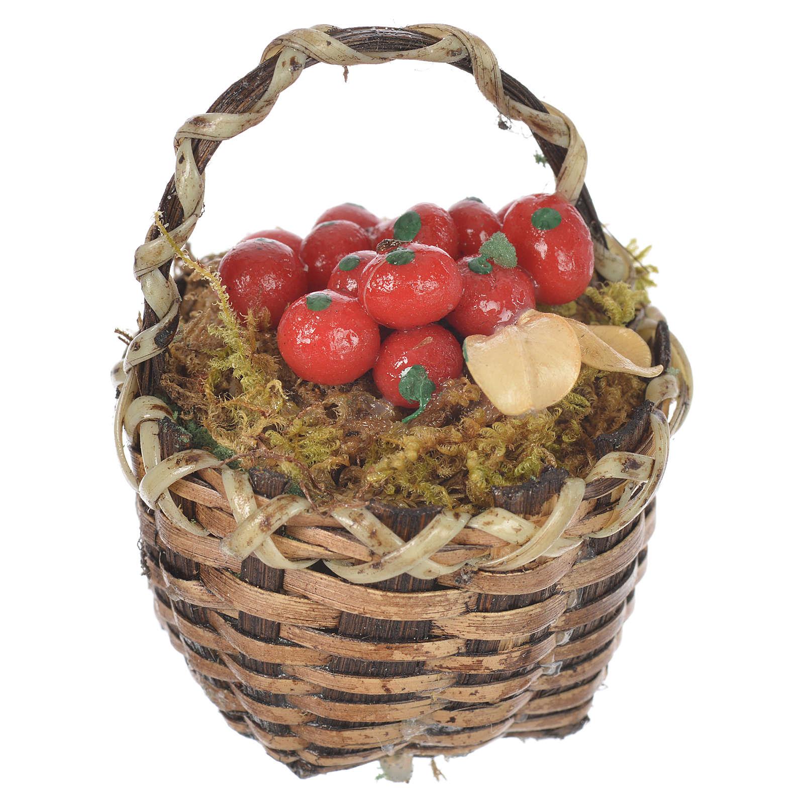 Cestino con frutta rossa presepe per figure 20-24 cm 4