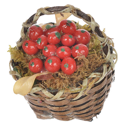 Cestino con frutta rossa presepe per figure 20-24 cm 2