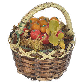 Accessory for nativities of 20-24cm, basket with fresh fruit in wax s1