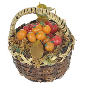 Accessory for nativities of 20-24cm, basket with fresh fruit in wax s2