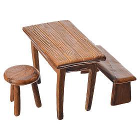 Mesa, banco y taburete para belén de Moranduzzo con estatua de 10 cm s2