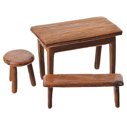 Mesa, banco y taburete para belén de Moranduzzo con estatua de 10 cm 1