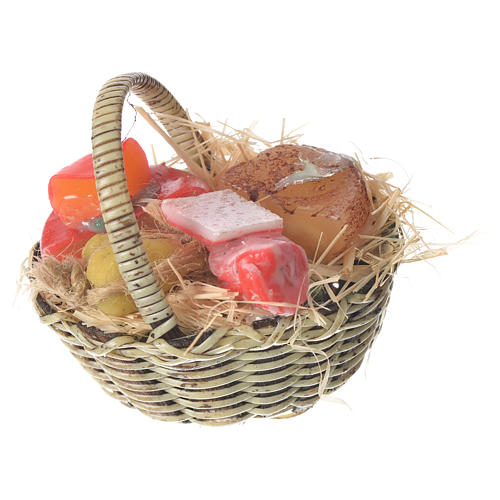 Accessory for nativities of 20-24cm, basket with cheeses and meats in wax 1