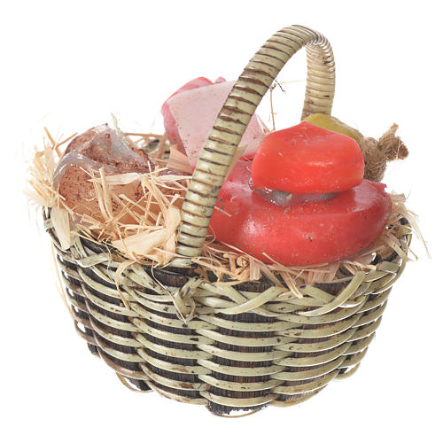 Accessory for nativities of 20-24cm, basket with cheeses and meats in wax 2