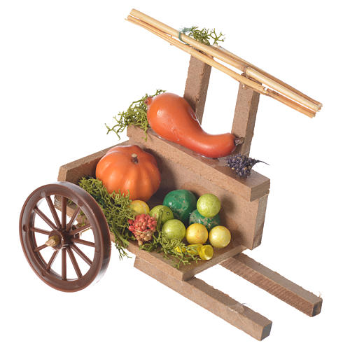 Cart with vegetable in wax, nativity accessory 10x12x8cm 1