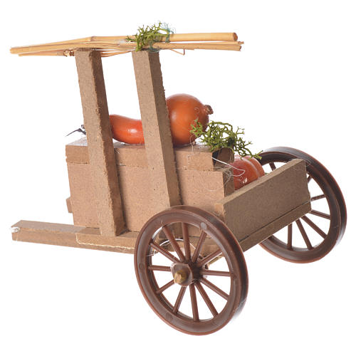 Cart with vegetable in wax, nativity accessory 10x12x8cm 2