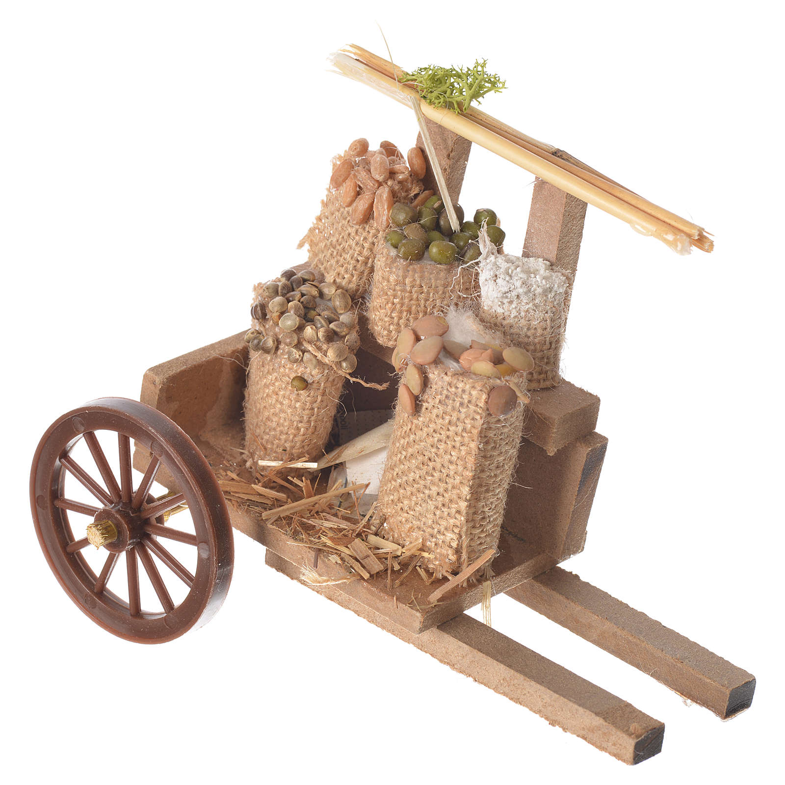 Cart with cereal in wax, nativity accessory 10x12x8cm 4