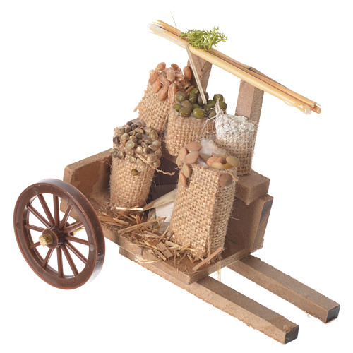 Cart with cereal in wax, nativity accessory 10x12x8cm 1