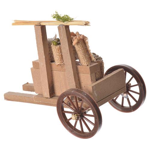 Carro cargado de cereales cera belén 10x12x8 cm 2