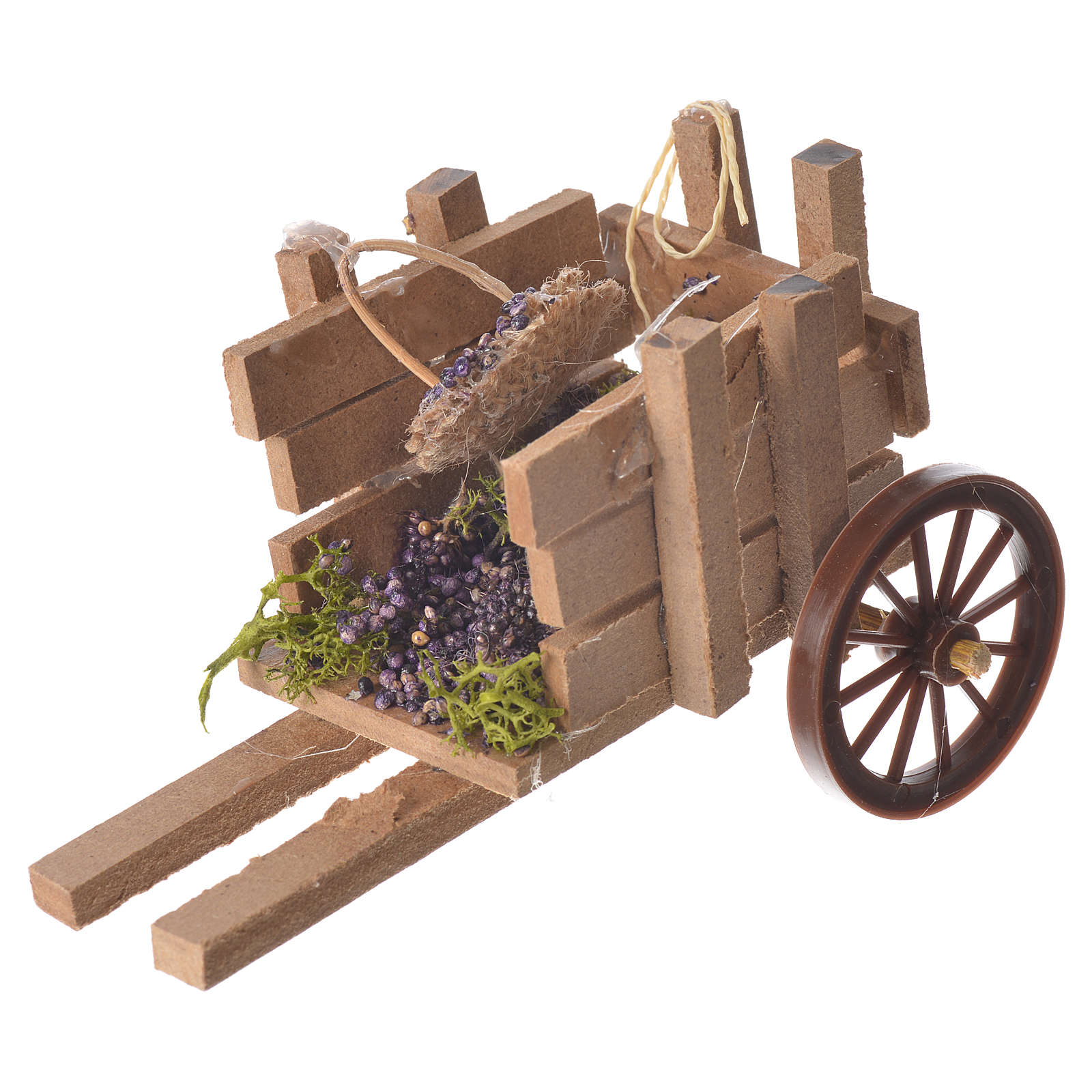 Cart with grapes in wax, nativity accessory 10x12x8cm 4