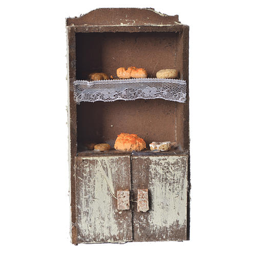 Cupboard for nativity with bread and cheese 13x7x4cm assorted models 1