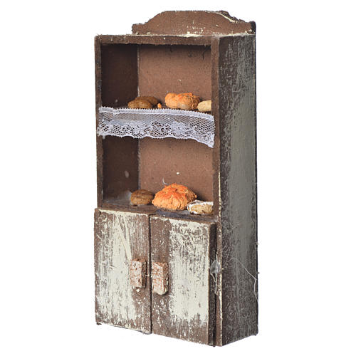 Cupboard for nativity with bread and cheese 13x7x4cm assorted models 2