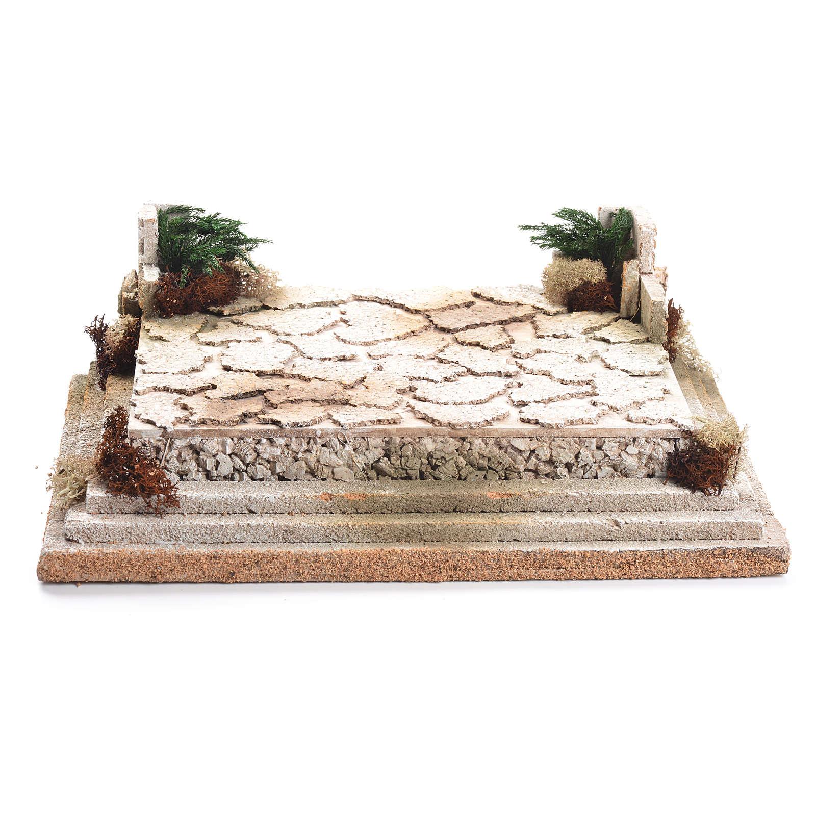 Piazza per presepe in sughero 12x35x26 cm 4