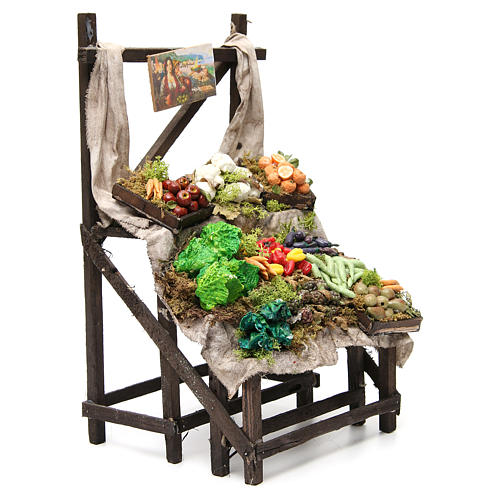 Nativity fruit seller stall in wax, 40x23x21cm 4