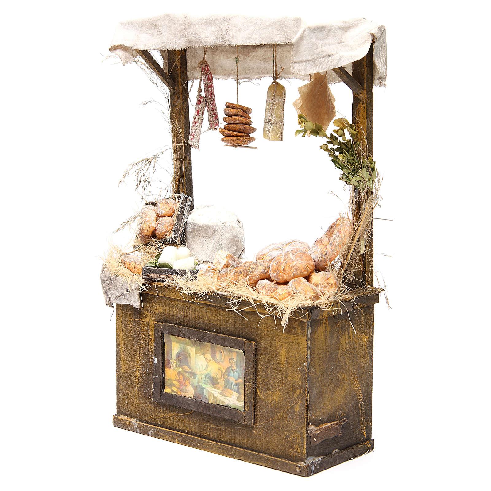 Nativity baker's stall in wax, 40x25x10.5cm 4