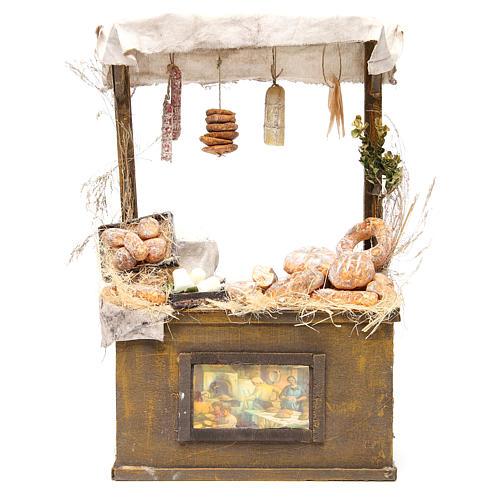 Nativity baker's stall in wax, 40x25x10.5cm 1