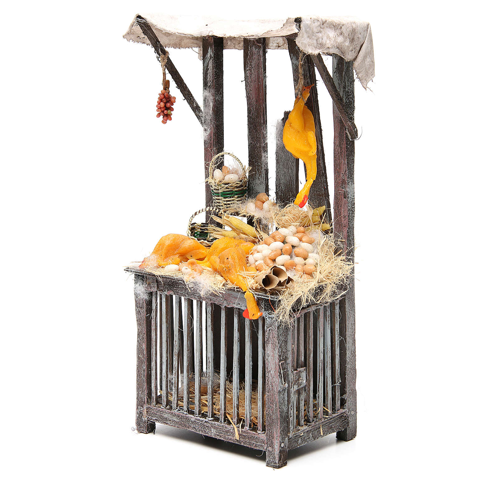 Nativity poultry seller stall in wax, 40x18x12cm 4
