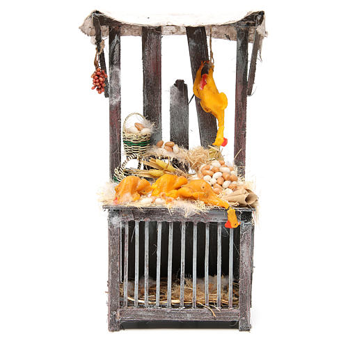 Nativity poultry seller stall in wax, 40x18x12cm 1