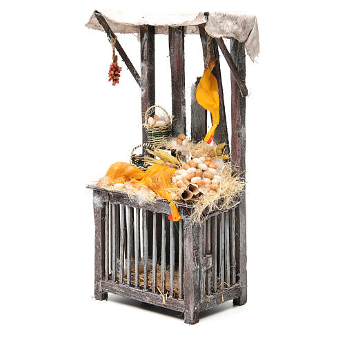 Nativity poultry seller stall in wax, 40x18x12cm 2