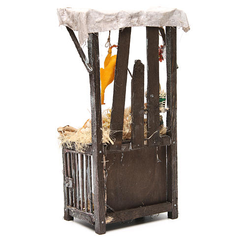 Nativity poultry seller stall in wax, 40x18x12cm 3