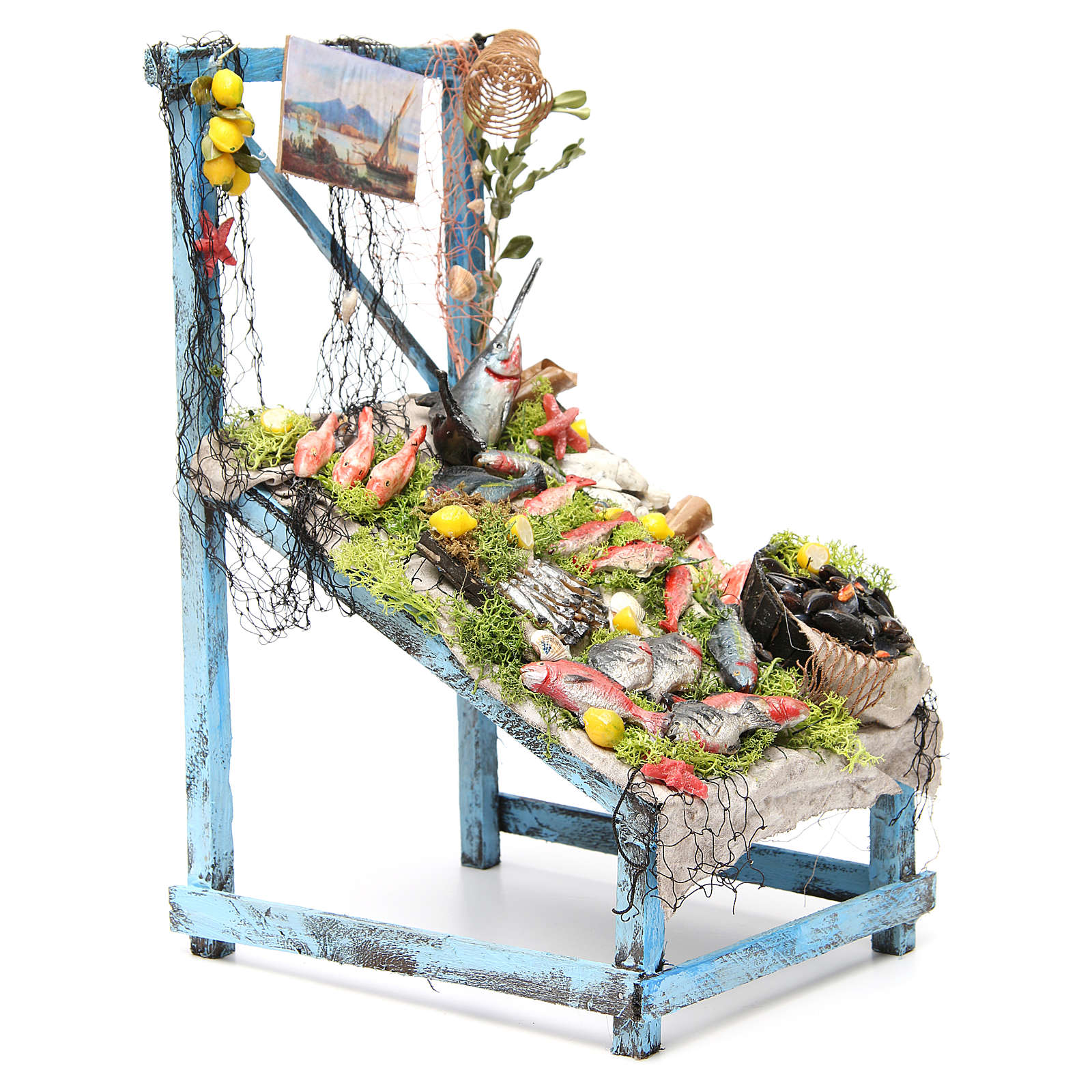 Nativity fishmonger stall in wax, 39x26x22cm 4