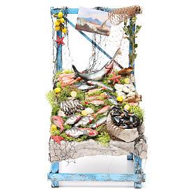 Nativity fishmonger stall in wax, 39x26x22cm s1