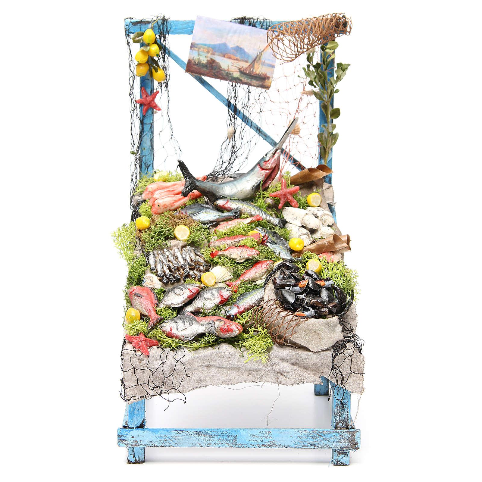 Banco del pescivendolo in cera 39x26x22 cm presepe 4
