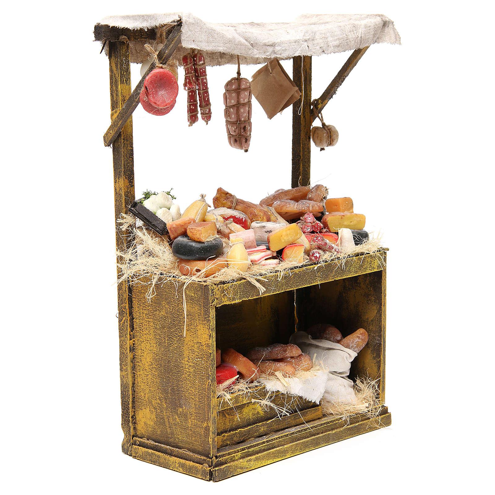 Käse- und Wurstwaren-Verkaufsstand aus Wachs 40x25x12,5 cm für DIY-Krippe 4