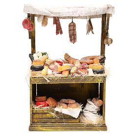 Käse- und Wurstwaren-Verkaufsstand aus Wachs 40x25x12,5 cm für DIY-Krippe s1