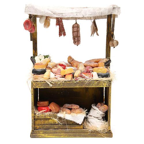Käse- und Wurstwaren-Verkaufsstand aus Wachs 40x25x12,5 cm für DIY-Krippe 1