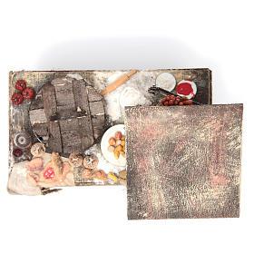 Pizza-Verkaufsstand aus Wachs 41x22,5x15 cm für DIY-Krippe s5