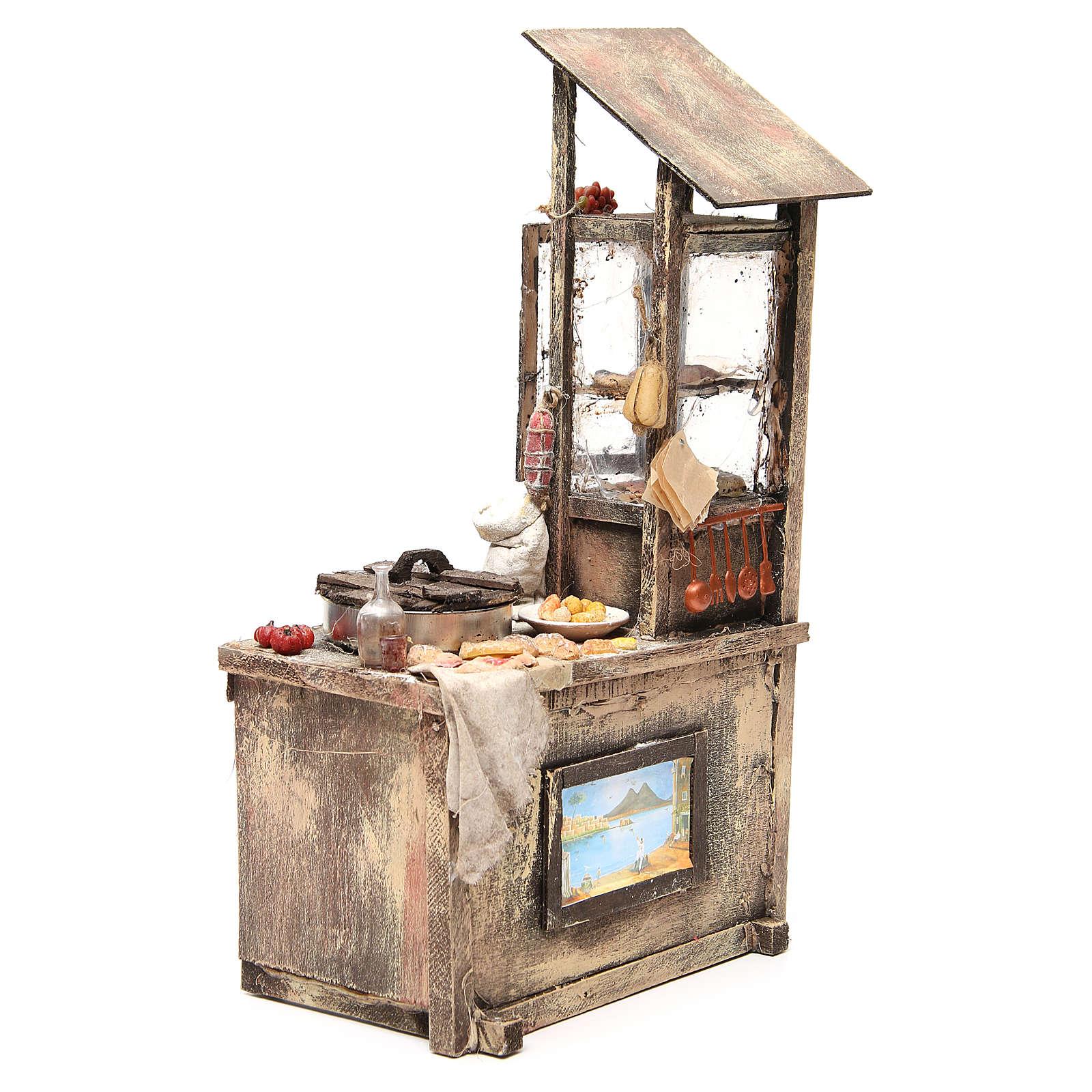 Nativity pizza maker stall in wax, 41x22.5x15cm 4