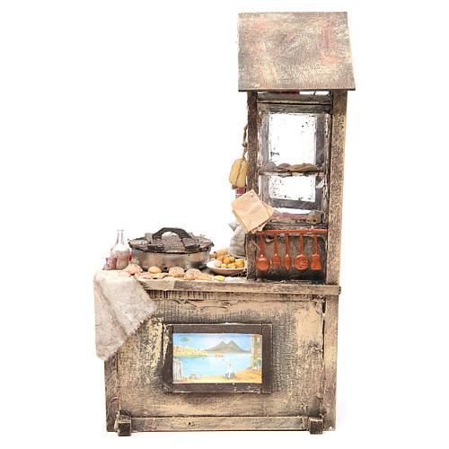 Nativity pizza maker stall in wax, 41x22.5x15cm 1