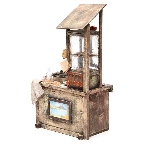 Nativity pizza maker stall in wax, 41x22.5x15cm 2