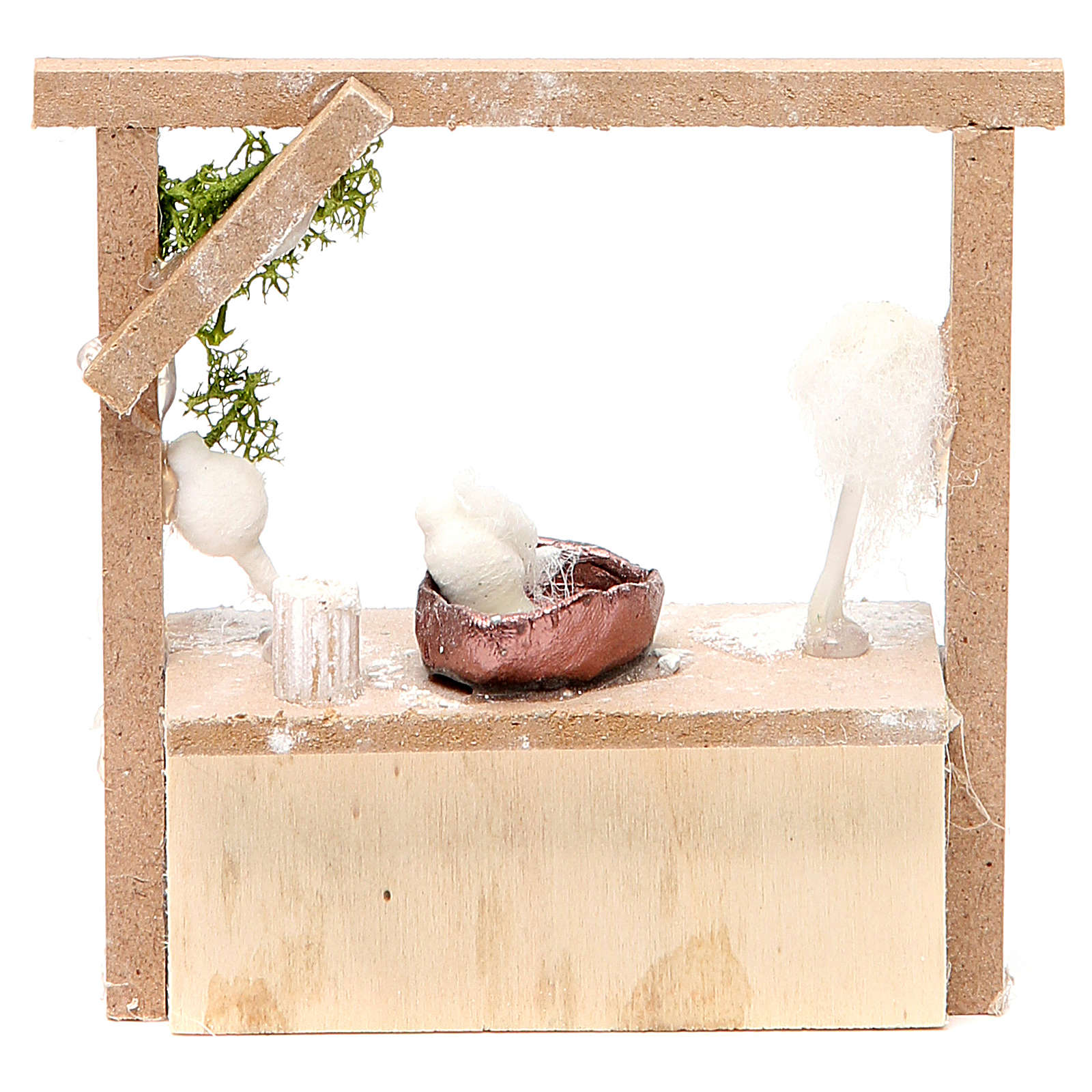 Nativity candy floss stall in wax, 10.5x11x4cm 4