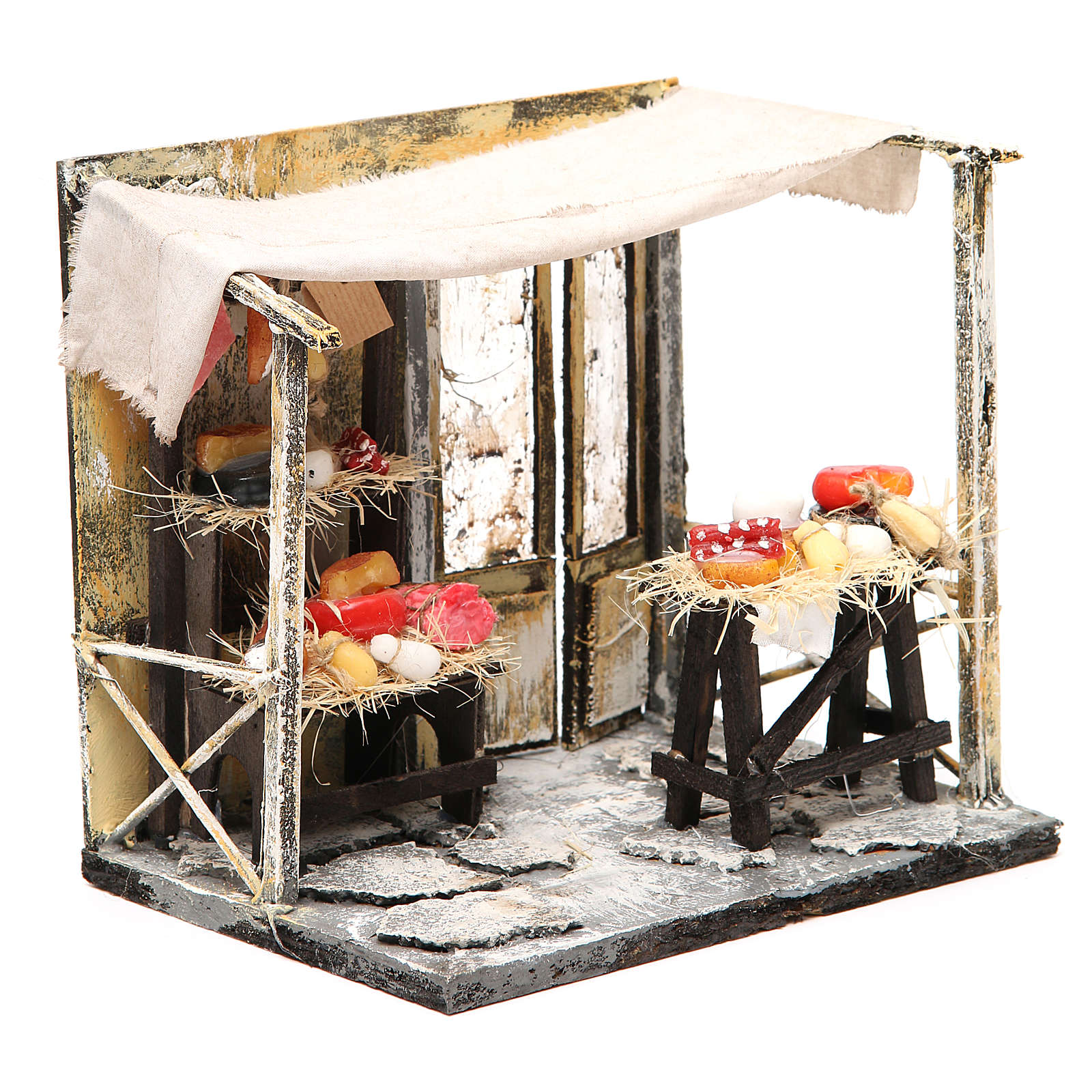 Nativity cured meat seller stall in wax, 18x20x14cm 4