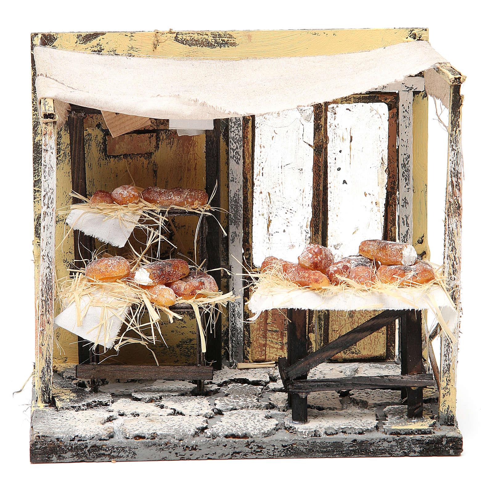 Bottega panettiere in cera presepe 18x20x14 cm 4