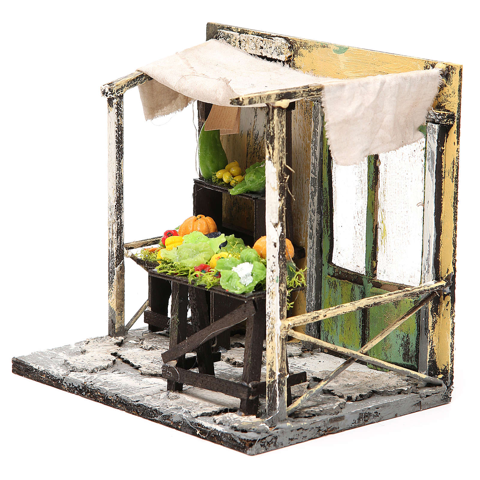Nativity Fruit seller stall in wax, 18x20x14cm 4