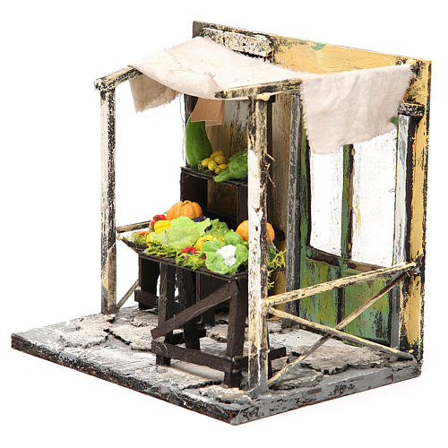 Nativity Fruit seller stall in wax, 18x20x14cm 2