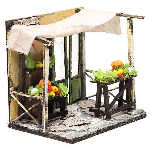 Nativity Fruit seller stall in wax, 18x20x14cm 3
