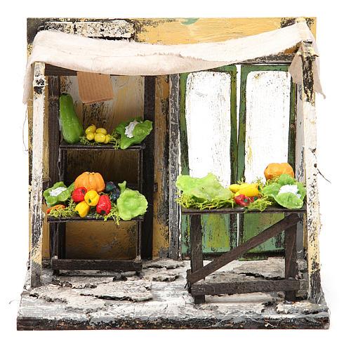 Nativity Fruit seller stall in wax, 18x20x14cm 1